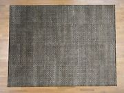 9and039x11and03910 Chocolate Brown Box Design Wool And Silk Hand-knotted Rug R40394