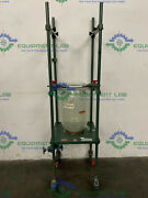 Chemglass 15l Jacketed Glass W/ 9.5 Od Sanitary Fitting On Rolling Stand