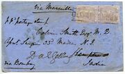 Scarce 1858 Cover With 6d Lilac Pair Old Aberdeen Scots Local Type Iii To India