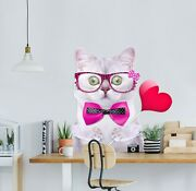 3d Bow Tie Cat P67 Animal Wallpaper Mural Self-adhesive Removable Zoe