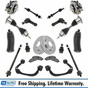 19 Piece Kit Brake Pads And Rotors Wheel Bearings Cv Axles Tie Rods Ball Joints