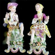 M119 Pair Antique 18th Century Bow Outside Decorated Figures Figurines