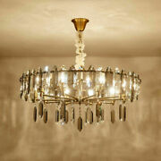 Crystal Chandelier Gold Lamp Dining Room Table Lighting Fixtures Ceiling Light Q