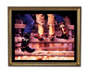 Old Cowboy Boots And Spurs Western Rodeo Wall Picture Gold Framed Art Print