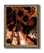 Old Wood Rod Fly Reel And Fishing Lures 2 Wall Picture Gold Framed Art Print