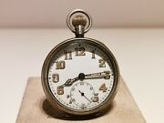 Antique Rare Ww2 Era Military Style Silver Swiss Menand039s Pocket Watch Koh-i-noor
