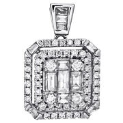 14k White Gold Round And Baguette Diamond Teired Halo Square Pendant 0.87 Ct.