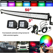 5d Rgbw 50inch Curved Led Light Bar + 2x 3 Spot Pods And Bluetooth Control Wiring