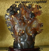 China Agate Carving Fengshui Wealth Seaweed Animal Fish Goldfish Ornament Statue