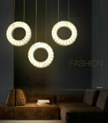 3 Circles Crystal Chandelier Dining Room Ceiling Lamp Island Long Table Light Yc
