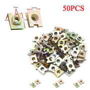50pcs Metal Spring U-type Plate Nut Speed Clips 6mm M6 For Car Panel Defense