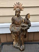 Late 18th Century Portuguese Santos, Carved Madonna And Child, Religious Folk Art
