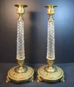 Vintage Pair French Empire Style Gilt Bronze And Crystal Glass Candlesticks
