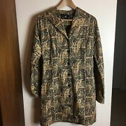 Peruvian Connection Brown Black Collared Tribal Geometric Light Spring Coat 6