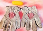 Union Pacific Railroad Uprr Workman Leather Gloves Brown Size Med Used
