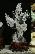 Chinese Natural Dushan Jade Stone Hand-carving Plum Blossom Flower Tree Statue