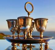 State Line Victorian Silver Plated Rare 1st Class Egg Cup Set On Stand C-1870's