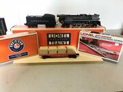 """Lionel 4-8-4 """"o"""" Gauge Engine And Coal Tender With 2 Switch Track And Flat Car"""