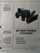 Sears Ff 18 20 24 Garden Tractor 48 Snow Thrower And Pto Owner And Parts 2 Manuals