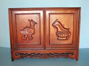 18/19th C Chinese Carved Huanghuali 'hundred-antiques' Table Cabinet - No Nails