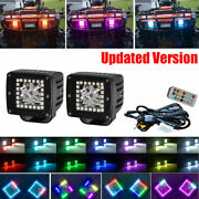 Pair 48w Led Work Light Bar 3x3 Spot Pods Rgb Halo Color Changing Chasing Kits