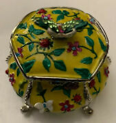 Vintage Butterflies And Flowers Jeweled Trinket Box Crystals Rucinni