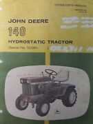 John Deere 140 Lawn Garden Tractor And 54 Front Dozer Blade Owner 2 Manual S H3