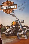 Harley Canvas Large 53 X 71 Poster Print Softail Signed By Bill Davidson X6