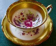 Paragon Gorgeous Heavy Gold Flowers Fine Bone China Cup And Saucer
