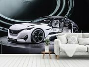 3d White Sportcar T406 Transport Wallpaper Mural Self-adhesive Removable Sunday