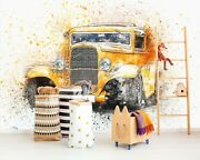 3d Antique Yellow T052 Transport Wallpaper Mural Self-adhesive Removable Sunday