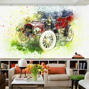 3d Antique Red T053 Transport Wallpaper Mural Self-adhesive Removable Sunday