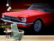 3d Antique Red Car T014 Transport Wallpaper Mural Self-adhesive Removable Sunday
