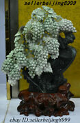 China 100 Dushan Jade Stone Carving Grape Tree Landscape Cattle Ornament Statue