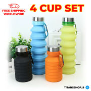 4 Cup Set Outdoor Sport Bottle Silicone Folding Water Collapsible Foldable Cups