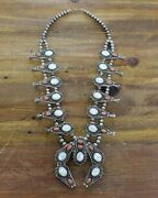 Vintage White Mother Of Pearl And Coral Squash Blossom Necklace