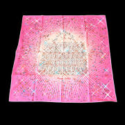 Hermes Scarf Stole Magic Kelly Silk Carre 90 Pink Authentic 03273