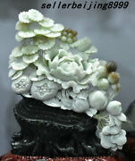 Chinese Natural Jade Stone Carving Pomegranate Peach Flower Tree Ornament Statue