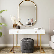 Office Two-drawers Computer Desk Vanity Table Wood And Metal White And Gold