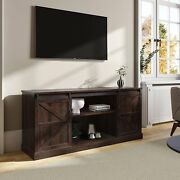 Espresso 58tv Stand W/sliding Barn Door Console Table Storage For Tvs Up To 65