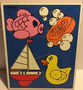 """Vintage Playskool """"for My Bath"""" Wood Puzzle 180-07 Fish Duck Boat Soap 82"""