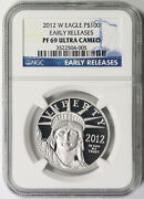2012-w Liberty Platinum Eagle 100 Pf 69 Ultra Cameo Ngc 1 Oz Early Releases