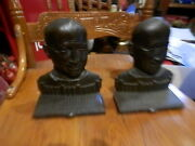 Vintage Pair Knute Rockne Cast Iron Book Ends Old And Rare Revised Photos L@@k