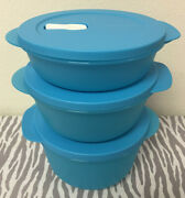 Tupperware Crystalwave Microwave Round Dishes Set Of 3 Blue 4 6 1/4 8 1/2 Cups