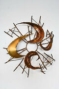 Mid Century Brutalist Torch-cut Metal Abstract Wall Sculpture