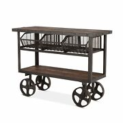 48.5 Industrial Utility Cart Reclaimed Teak Woods With Recycled Cast Iron