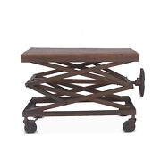 36 L Adjustable Accent Table Industrial Hand Crank Reclaimed Woods With Metal