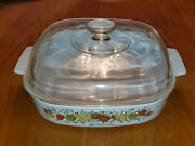 Vintage Corning Ware Spice Of Life Le Romarin 9 3/4 Square Casserole With Lid