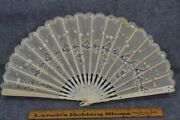Hand Fan Victorian Hand Painted Lace White Carved Bovine Bone Antique 1800 19thc
