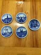 Collectible Porcelain Small Plates Saucers Royal Copenhagen Type 2010 Set Of 5